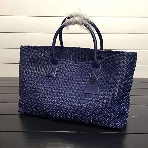 Klassische Designer-Handtaschen Frauen Schaffell Strick Totes Taschen Woven Ping Basket Large Casual Bags Royal Blue