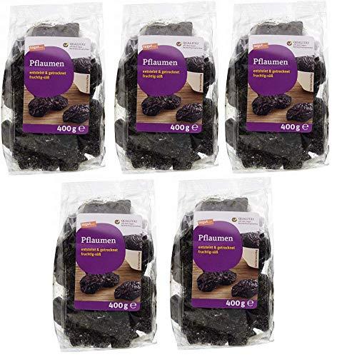 tegut... 5er Pack Ganze getrocknete Pflaumen 400 g - Trockenfrüchte entsteint ungezuckert ungeschwefelt mit natürlichen Ballaststoffen - Vorteilspack 5x400g