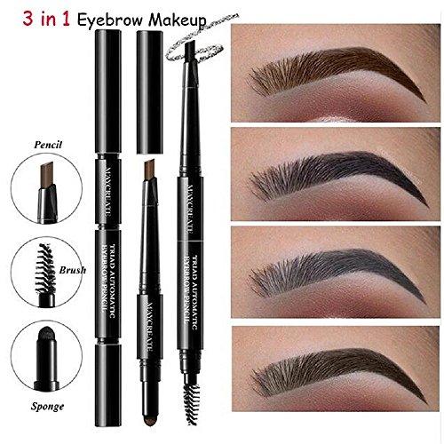 ILOVEDIY 3 en 1 Eyeliner Pencil + Eyebrow Powder + Eyebrow Brush Maquillage Feutre Waterproof Pen Brosse Sourcils Poudre à Sourcils (#3)