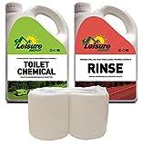 Organic Toilet Chemical + Rinse (2L Each) + Roll Caravan Motorhome Boat 4 Elsan