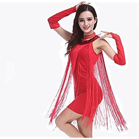 Donne paillettes vestito da ballo latino con frange . red