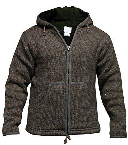 Shopoholc Mode Einfarbig Farben Fleecefutter Gestrickt Aus wolle Jacke Mit Kapuze/Pulli Braun