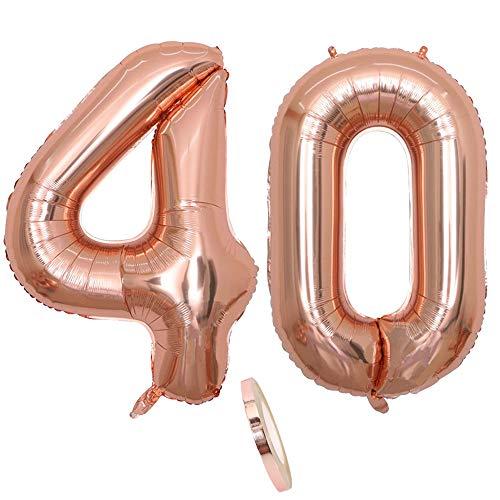2 Luftballons Zahl 40, Nummer 40 Luftballon Rosegold Mädchen ,40