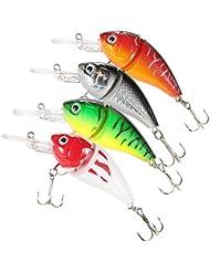 Lixada 4pcs pêche leurre appât Leurres de Pêche Lure dur Bait avec des crochets Métal