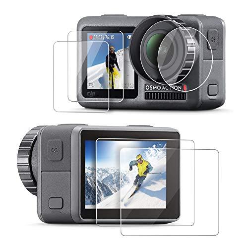 Rhodesy Pellicola Vetro per DJI OSMO ACTION Sports Camera Pellicole Proteggi Schermo Vetro Temperato Aggiornato e Pellicole Protettive per Lente