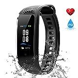 WiMiUS Fitness Armband mit Pulsmesser, Wasserdicht IP68 Fitness Tracker, Aktivitätstracker, Schlaf Monitor,Schrittzähler, GPS, Kalorienzähler Uhr Smart Watch für Damen Herren (Schwarz)