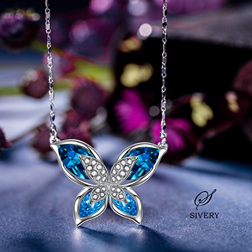 crystal com products blue butterfly gold ibestest rose side necklace dark