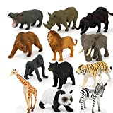 WE-WIN Lot de 12 Figurines d'animaux Sauvages Réalistes Wildlife Animals
