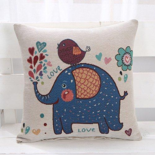 S-MAN Funda de cojín, diseño vintage de elefante, jacquard, sofá, coche, decoración...