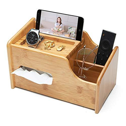 ZH Premium Bamboo Wood Office Desk Organizer - Tissue-Box-Halter mit Smartphone-Halter, 2 Fächern zum Organisieren von Stiften, Fernbedienung, Brillen und mehr!