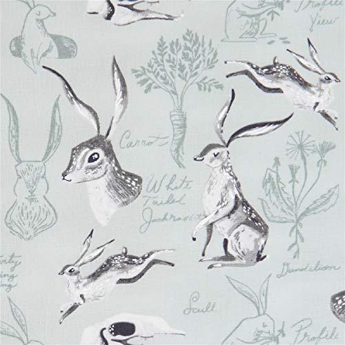 Timeless Treasures Tissu en Coton Vert Menthe avec des lièvres, des Lapins Sauvages, des Carottes, etc.