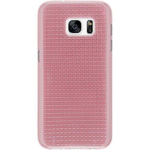PhoneNatic Case für Samsung Galaxy S7 Hülle Silikon hellblau Iced Cover Galaxy S7 Tasche + 2 Schutzfolien Rosa