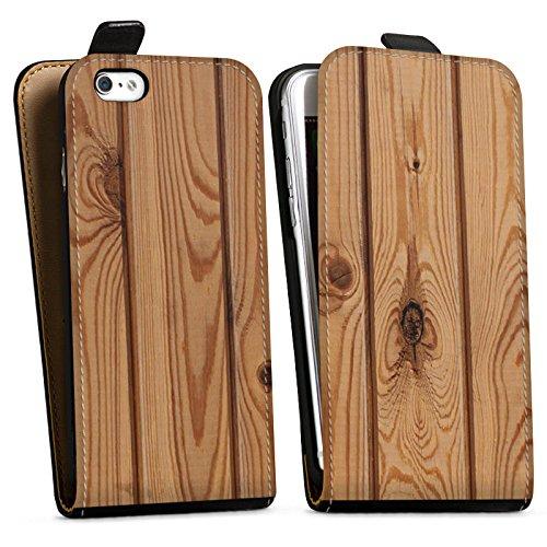 Apple iPhone X Silikon Hülle Case Schutzhülle Holz Look Planken Holzboden Downflip Tasche schwarz