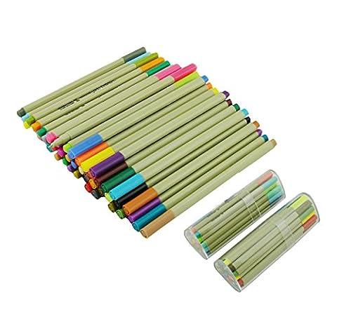 Lanxivi Farbige Federn-Set, 48 sortierte Farben Fineliner Kugelschreiber 0.3mm mit Kunststoff-Feder-Kasten & Bleistift-Beutel / Tinte auf Wasserbasis Pens