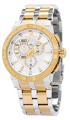 Grafenberg Men's Quartz Watch with Gold Dial Analogue Display and Silver Stainless Steel Bracelet GB203-187A