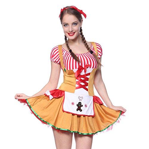 Damen Kostüm Weihnachten Weihnachtskostüm Set Schneefrau Rentier Lebkuchen Frauen Karneval Faschingkostüm Party Dress ()