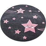 Kinderteppich Pink Grau Mädchenteppich Sternenmotiv Kinderzimmer Spielzimmer Qualität: Hoch, Material Beschaffenheit: 100% Polypropylen Friese, Florhöhe: 11mm, Muster: Sternmotiv (120 x 120 cm Rund)