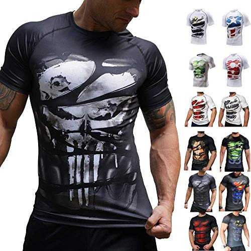 Khroom Hochwertiges Herren Funktionsshirt | Perfekt für Fitness & Gym - Kompressionsshirt im stylischen Helden Design (Punisher, M) -