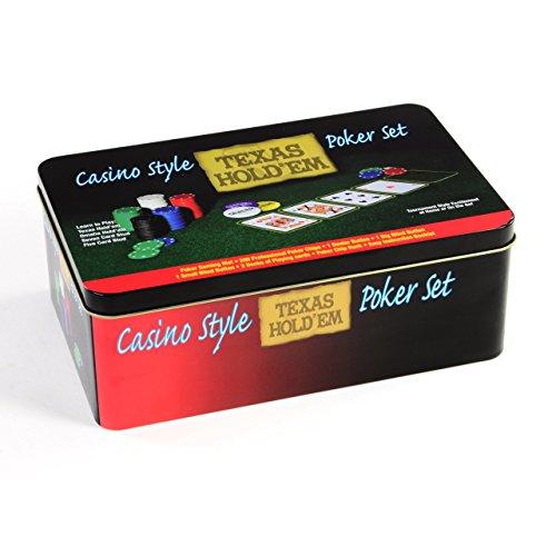 Preisvergleich Produktbild Pokerset 200 Pokerchips Spielmatte Pokerkarten Geschenkbox aus Metall