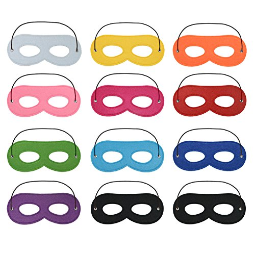 Keriber 12 Stück Superhero Masken Filz Augenmaske Cosplay Masken mit Elastik Seil für Party Dress Up Gefälligkeiten Kostüme (Dress Up Kostüme)