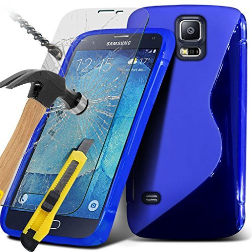 Samsung Galaxy S5 Neo hülle Tasche (Grün + Kopfhörer) Slim-Fit-Abdeckung für Samsung-Galaxie-S5 Neo-hülle Tasche Haltbarer S Linie Wellen-Gel-Kasten-Haut-Abdeckung + mit Aluminium Earbud Kopfhörer, Po Wave Gel+ Glass ( Blue )