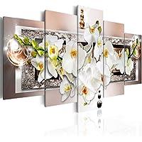 """Amosi Art Orquídea Flor Lienzo Impresión Pared Arte Blanco Floral Pintura 5 Piezas Marrón y Negro Cristal HD Impresión Arte para Moderno Hogar Vida Decoración Enmarcado Listo para Colgar, Brown(overall:40""""x20""""), 8x12inx2pcs 8x16inx2pcs 8x20inx1pcs"""