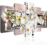 """Amosi Art Stampa su tela con fiori di orchidea bianchi, motivo su sfondo astratto, decorazione floreale per casa moderna, Brown(overall:40""""x20""""), 8x12inx2pcs 8x16inx2pcs 8x20inx1pcs"""
