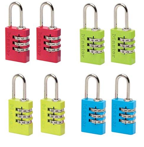 Master Lock 2 Aluminium Zahlenschlösser 20 mm - Farblich sortiert, 7620EURTCOL