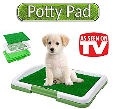 The Original Potty Pad – Litter In Artificial Grass Dog Toilet Mat for Puppies – Replaces Absorbent Cleaning Cloths - Odour Control, Anti-bacterial  –  For puppies or small dogs - Large 47 x 34 x 6 cm