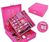 KAIMENG Display Speicher Gehäuse Velvet Glas Schmuck Box Organizer Ringe Ohrringe Tablett(Rose)