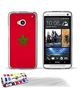 Originale Schutzschale von MUZZANO : Grau, ultradünn und flexibel, mit Flagge Marokko-Muster für HTC ONE / M7 + 3 Displayschutzfolien UltraClear