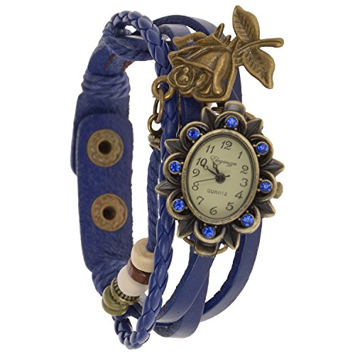 Eleganzza women's casual watch ladies bracelet watch Rose Pendant (blue)