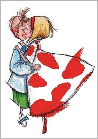 Im 5er Set: Das Kuss Pärchen - die romantische Liebeskarte nicht nur als Valentinskarte (Romantische Kuss)