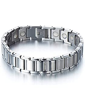 Raffiniertes Design-Edelstahl-Armband Herren Armband mit Starken Magnete, Link-Tool zum Entfernen Enthalten