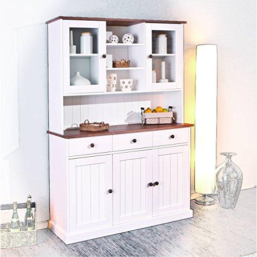 Anrichte Küche: Buffetschrank H24living Vitrine Anrichte Küchen-Schrank im Landhaus-Stil