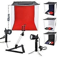 BPS Tente Cube de Lumière 40x40x40cm, Mini Photo Studio Kit, LED Eclairage 5000-5500K avec 4 Fond Tissu Noir Blanc Rouge et Bleu et Fixation de Téléphone
