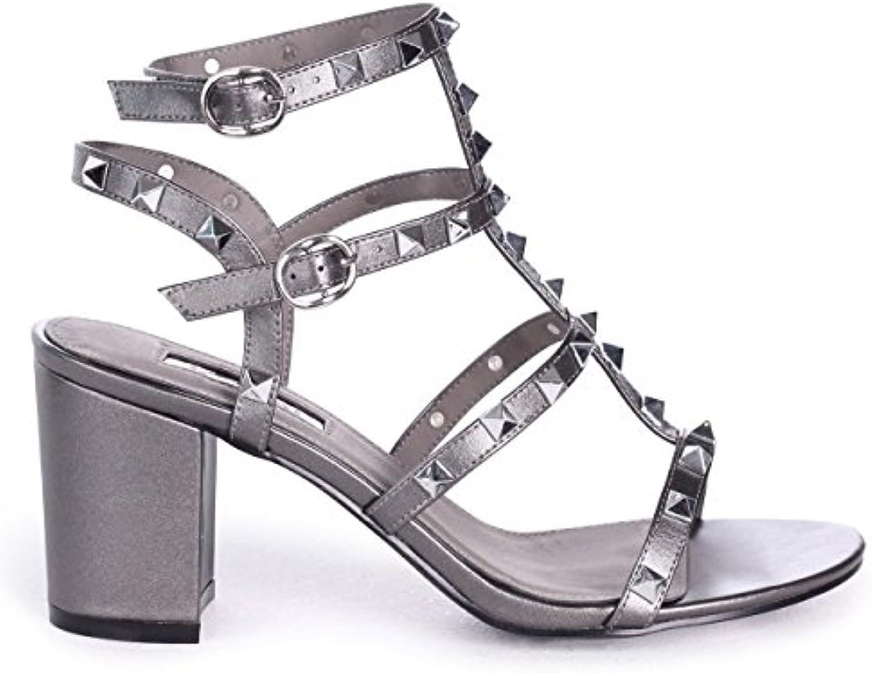 9575d94a0c1 Linzi Tessa - - - Grey Satin Studded Block Heeled Sandal B078YCVZ1J Parent  332597
