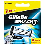 Gillette's best selling Mach3 Razor replacement cartridges come in a pack of 8. Each cartridge has three perfectly designed blades for ultimate comfort and an Advanced Indicator lubricating strip telling guys when it's time for the dull blade to be r...