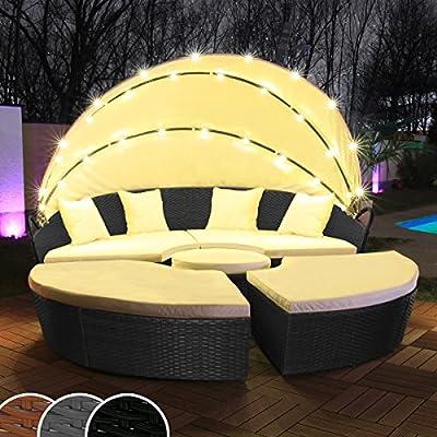 Polyrattan Sonneninsel mit LED Beleuchtung + Solarmodul inklusive Abdeckcover Rattan Lounge Sunbed Liege Insel mit Regencover Sonnenliege Gartenliege