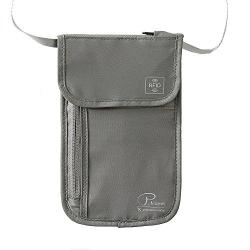 Portadocumentos de cuello Bolso de viaje para el cuello Tuscall Porta Pasaporte de cuello con bloqueo de RFID para Mujeres, Hombres y Niños (Gris)