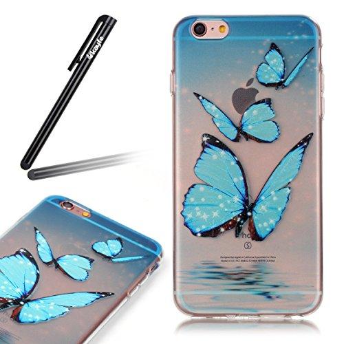 Coque iPhone 6 Plus/6S Plus, iPhone 6S Plus Coque en Silicone bord [Ultra Hybrid] Transparent Housse Etui, iPhone 6 Plus Silicone bord Coque Clair Ultra-Mince Relief Slim Plastique arrière Étui Motif  Trois Blue Butterfly