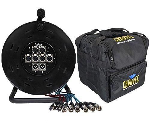 XLR Multicore 6/2Wege 25m Drum Stagebox & Chauvet CHS-40Tragetasche Paket