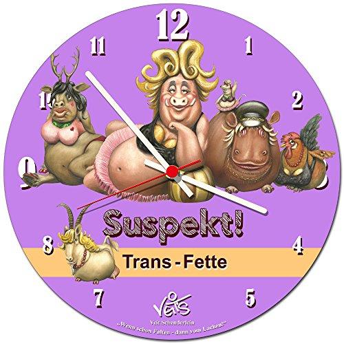 Veit's originelle, lustige Cartoon Wanduhr Küchenuhr - Suspekt! Trans Fette!