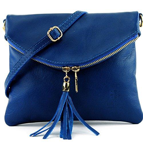 modamoda de - Made in Italy cuir petit ital. Sac en cuir d'embrayage sac d'embrayage sac à bandoulière sac Fille T139, Präzise Farbe (nur Farbe):T139A Blau