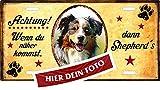 Holashirts Mallorca Hunde-Schild Metallschild Türschild Blechschild Warnschild Beispiel: Aussie Australian Shepherd mit eigenem Foto und Wunschtext