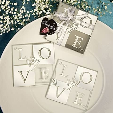 Set of 6 Mirror Finish Love Coaster Sets - {638054039785}