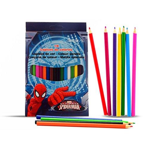Boîte 18 Crayons Couleur Homme Araignée Spiderman