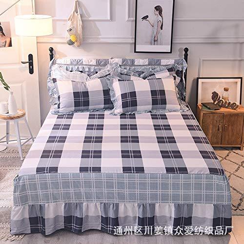 Hllhpc Für Baumwolle Anti-Schmutzig Bett Rock Einzelstück Baumwolle Anti-Falten Spitze Bett Rock Kissenbezug Liebe Ist Sehr Einfach 120 * 200 cm