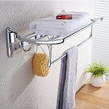 YFF@ILU Toallas de baño de acero inoxidable plegado doble actividades estantería de baño toallas de baño estanterías lanai toallero C