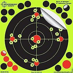 """Paquet de 50 - 20,3cm """"Stick & Splatter"""" Adhésif Splatterburst Objectifs de tir - Les coups jaunes brillants sont faciles à voir - Perfect pour toutes les armes à feu, fusils, pistolets, Airsoft"""